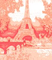Peach Abstract Decorative Eiffel Tower Seine River