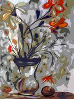 Abstract Floral Still Life by Ginette
