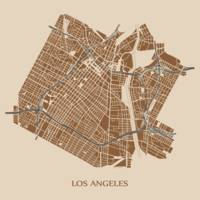 Los Angeles - Brown on Taupe with Title