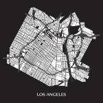 """Los Angeles - White on Black with Title"" by geosthetics"