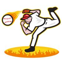 Baseball Pitcher Throwing Ball On Fire