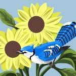 """Blue Jay With Sunflowers"" by waterart"