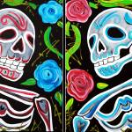 """Red and Blue Skulls and Roses"" by ArtPrints"