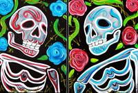 Red and Blue Skulls and Roses