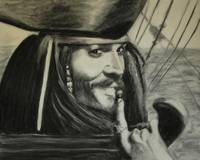 Charcoal portrait of Captain Jack Sparrow.