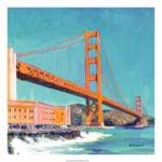 """East Golden gate bridge by RD Riccoboni square"" by BeaconArtWorksCorporation"
