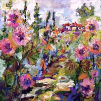 Impressionist English Garden and Hollyhock