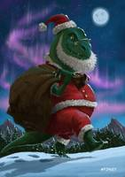Dinosaur Christmas Santa out in the snow