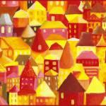 """city.orange-big"" by Genevieve"