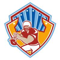 American Football Quarterback Star Shield