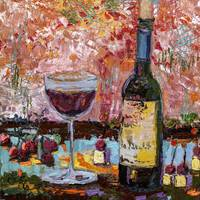 Red Wine Still Life Impression by Ginette