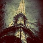 """Eiffel Tower,Tinted Blue and Distressed"" by Linde"