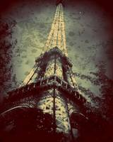 Eiffel Tower,Tinted Blue and Distressed