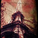 """Eiffel Tower,Tinted Red and Distressed"" by Linde"