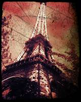 Eiffel Tower,Tinted Red and Distressed