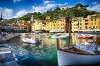 Low Angle View of Portofino Inner Harbor, Liguria,
