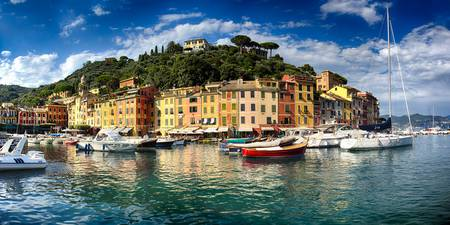 Low Angle Panoramic View of Portofino Harbor