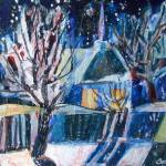 """Winter landscape with a luminous window"" by eva-kryshtapovich"