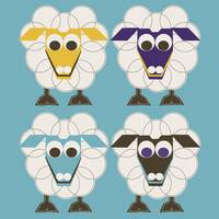 4 SLEEP SHEEP white on turquise