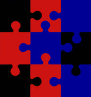 9 Puzzle Pieces in 3 Colors