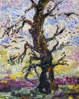 Old Oak Tree Impressionist Oil Painting