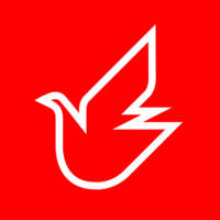 Dove of Peace white on red made for UNICEF