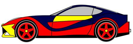LONVIG ART and Ferrari Berlinetta 3 colored trough
