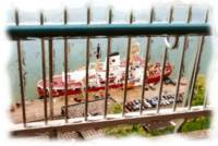 Railing and The Red Canadian Icebreaker on St Lawr