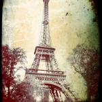 """""""Eiffel Tower, washed out, aged look"""" by Linde"""