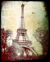 Eiffel Tower, washed out, aged look