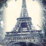 """Eiffel Tower, aged, distressed image."" by Linde"