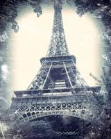 Eiffel Tower, aged, distressed image.