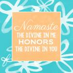 """Namaste with blue and white flowers"" by lindawoods"