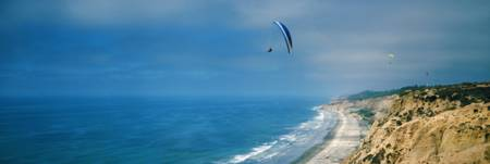 Paragliders over the coast La Jolla San Diego Cali