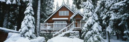Snow Covered Chalet Lake Tahoe CA