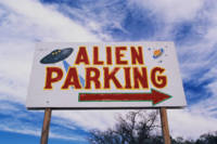 Alien Parking Directional Sign