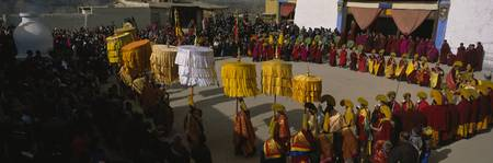 High angle view of monks performing traditional r