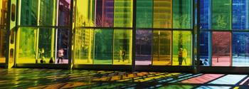 Multi colored glass in a convention center Palais