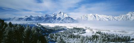 Snow-capped mountains in Grand Teton National Par