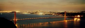 Suspension bridge lit up at dusk Golden Gate Brid