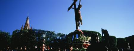 Group of people in a Good Friday procession
