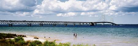 Bridge across a lake Mackinac Bridge Mackinaw Cit