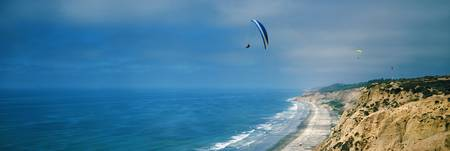Paragliders over the coast La Jolla San Diego Cal