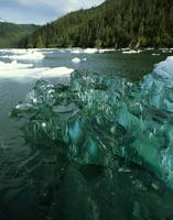Wide angle view of icebergs in lake