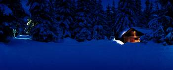 Evening Winter Lost Lake Cabin Whistler British C