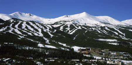 Ski resorts in front of a mountain range