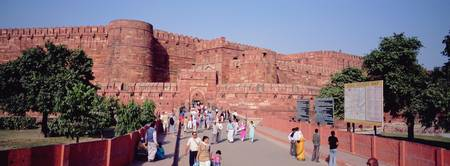Tourists outside a fort