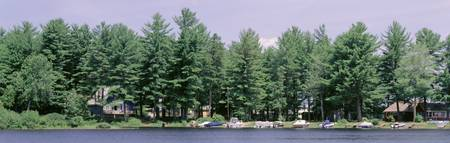 Powerboats and cabins on Sebago Lake ME