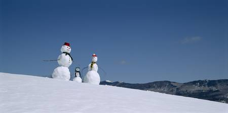 Snowmen in snow covered landscape