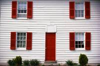 White House with Red Door and Shutters